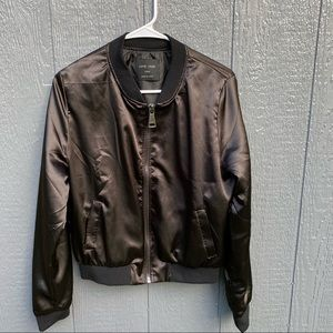Love Tree Black Shiny Bomber Jacket L